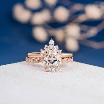 7*9mm Oval Cut Moissanite Art Deco Band Engagement Ring Set