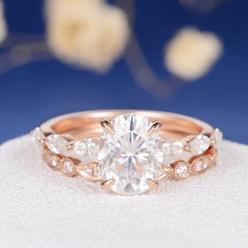 7*9mm Oval Cut Moissanite Marquise Engagement Ring Set
