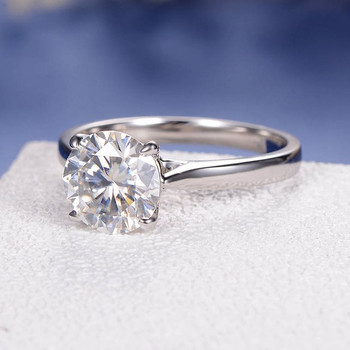 8mm Round Cut Moissanite Solitaire White Gold Engagement Ring