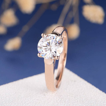 8mm Round Cut Moissanite Solitaire Rose Gold Engagement Ring