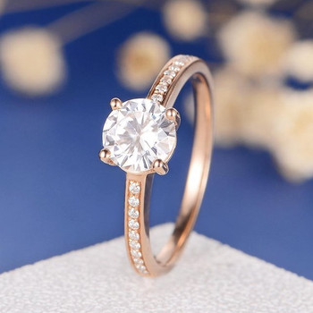 6.5mm Round Moissanite Solitaire Diamond Wedding Ring
