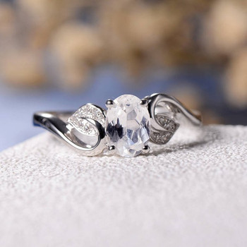5*7mm Oval Cut Moissanite Leave Twig Diamond Engagement Ring
