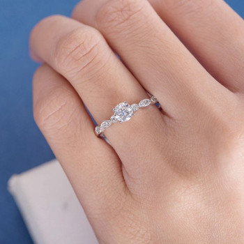 5mm Round Moissanite Anniversary Ring Diamond White Gold