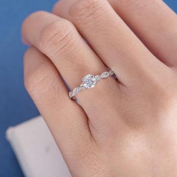 5mm Round Moissanite Anniversary Ring Diamond White Gold