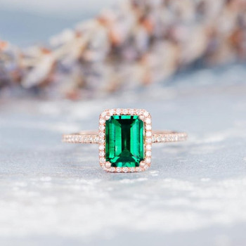 6*8mm Lab Emerald Engagement Ring Emerald Cut Wedding Ring