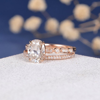 7*9mm Oval Cut Moissanite  Antique Solitaire  Engagement Ring Set