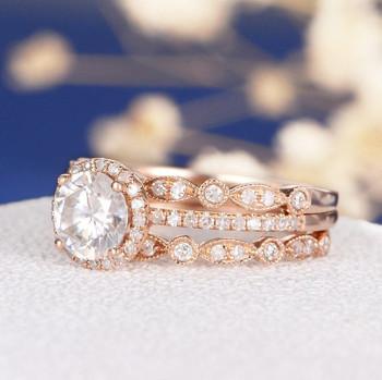 6.5mm Round Cut Moissanite  Art Deco Wedding Band  Engagement Ring Set