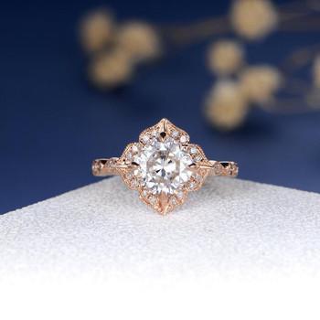 Rose Gold 7mm Cushion Cut Moissanite Ring  Vintage Ring