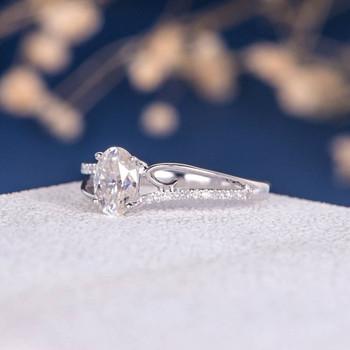White Gold  5*7mm Oval Cut Moissanite Flower Retro Bridal Ring