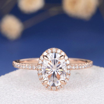 6*8mm Oval Cut Moissanite Diamond Halo Half Eternity Engagement Ring