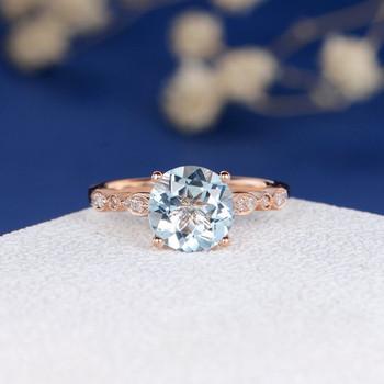 8mm Round Aquamarine Art Deco Engagement Ring