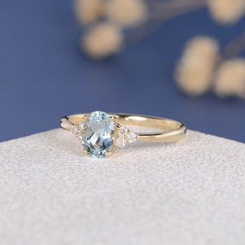 5*7mm Oval Cut Aquamarine Cluster Engagement Ring