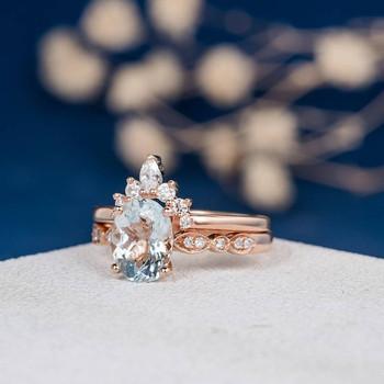 7*9mm Oval Cut Aquamarine Art Deco Band Engagement Ring Set
