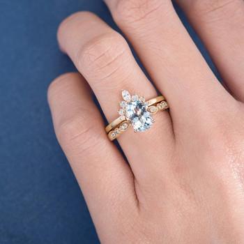 Yellow Gold  7*9mm Oval Cut Aquamarine Art Deco Band Engagement Ring Set