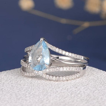 6*9mm Pear Cut Aquamarine Unique Cross Infinity Bridal Ring