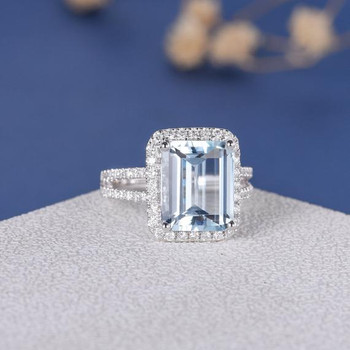 8*10mm Emerald Cut  Aquamarine Split Shank  Engagement Ring