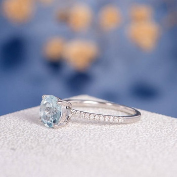 7mm Round Aquamarine Half Eternity Engagement Ring