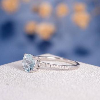 7mm Round Aquamarine Half Eternity Engagement Ring