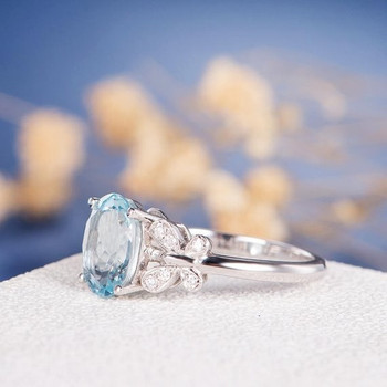 8*10mm Oval Cut  Aquamarine Diamond Butterfly Engagement Ring