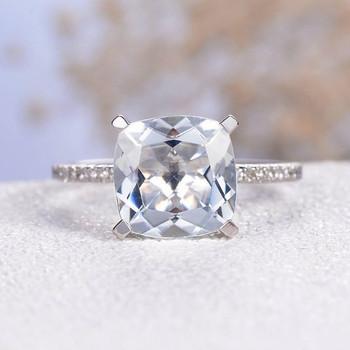 9mm Cushion Cut  Aquamarine Pave Diamond Eternity  Engagement Ring