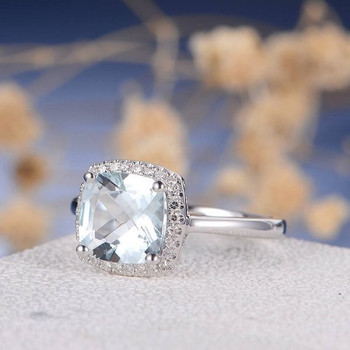 8mm Cushion Cut  Aquamarine Multistone Plain Band  Engagement Ring