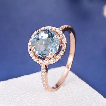 8mm Round Aquamarine Diamond Halo Engagement Ring