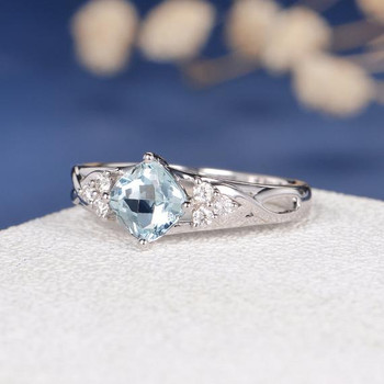 6mm Cushion Cut  Aquamarine Cluster Diamond Infinity Vine  Engagement Ring