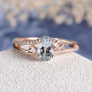 5*7mm Oval Cut Aquamarine  Antique Unique Curve Engagement Ring