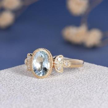 6*8mm Oval Cut Aquamarine  Bezel Set  Engagement Ring