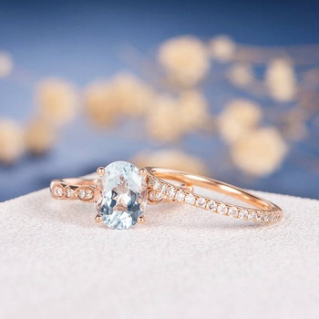 7*9mm Oval Cut Aquamarine Eternity Diamond Engagement Ring Set