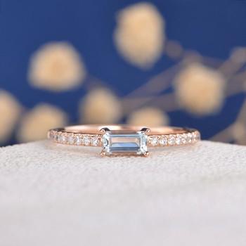 3*5mm Emerald Cut  Aquamarine Half Eternity Stacking Band Engagement Ring