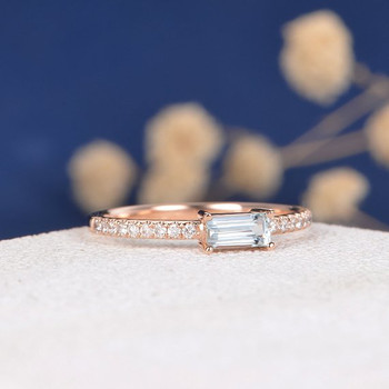 3*5mm Emerald Cut  Aquamarine Half Eternity Stacking Band Engagement Ring