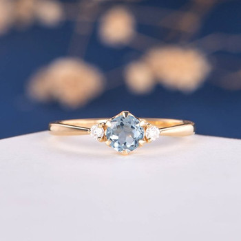 Yellow Gold  5mm Aquamarine Three Stone Unique Retro Promise Ring