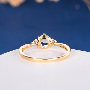 Yellow Gold  5mm Aquamarine Three Stone Unique Retro Promise Ring