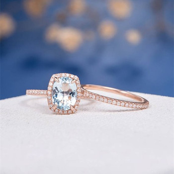 7*9mm Oval Aquamarine Eternity Diamond Pave Engagement Ring Set