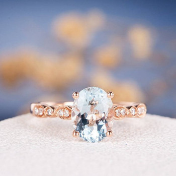 7*9mm Oval Cut  Aquamarine Infinity Diamond Retro Engagement Ring