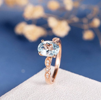 7*9mm Oval Cut  Aquamarine Infinity Diamond Retro Engagement Ring