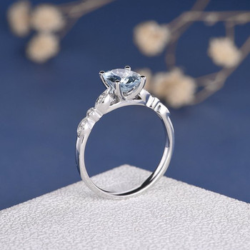 White Gold 7*9mm Oval Cut  Aquamarine Infinity Diamond Retro Engagement Ring