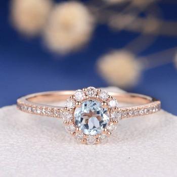 5mm Aquamarine Flower Floral Engagement Ring