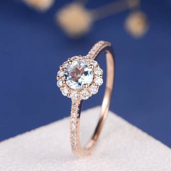 5mm Aquamarine Flower Floral Engagement Ring