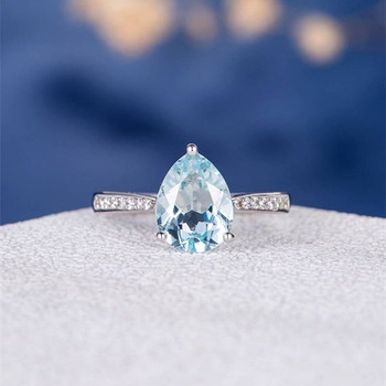 7*9mm Pear Cut  Aquamarine Solitaire Pave Half Eternity Engagement Ring