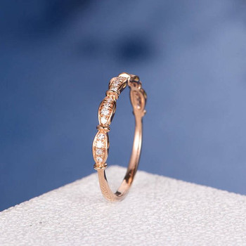 Rose Gold Unique Art Deco Diamond Antqiue Matching Band