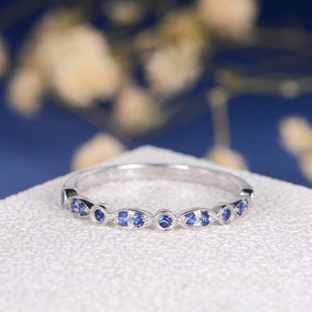 White Gold Sapphire Eternity Band Wedding Band