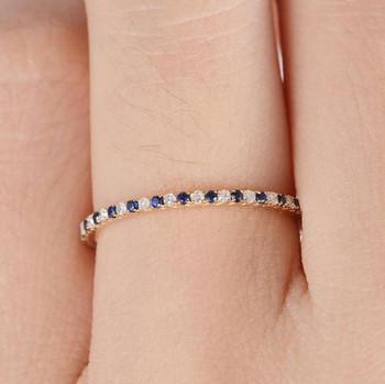 Full Eternity Mini Thin Diamond Sapphire Wedding Band