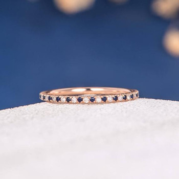 Rose Gold Full Eternity Mini Thin Diamond Sapphire Wedding Band