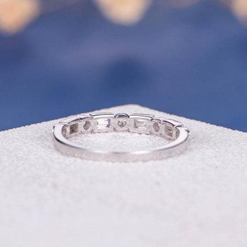 Art Deco Antique Baguette Half Eternity Diamond Wedding Ring