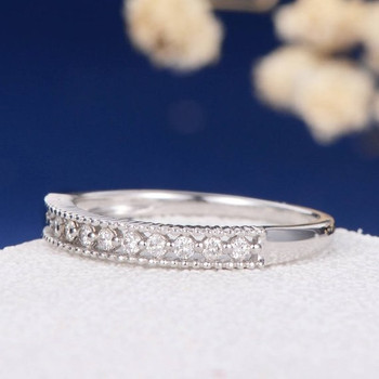 White Gold Micro Pave Beaded Diamond Eternity Anniversary Ring