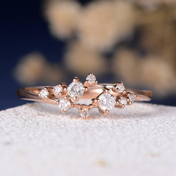 Cluster Ring Twig Floral Unique Snowflake Wedding Band