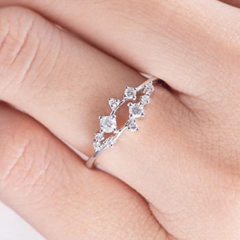 White Gold Cluster Ring Twig Floral Unique Snowflake Wedding Band