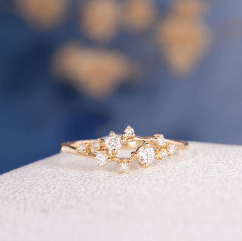 Yellow Gold Cluster Ring Twig Floral Unique Snowflake Wedding Band